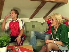 This blonde granny was inspired when she joined these two young men. They were in a really good mood thanks to the game and felt horny. Granny was around, so she got fucked.