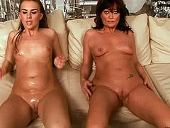 Two frisky brunette amateurs and a flamboyant mom play raunchy lesbian games. They lie on the leather couch in line fisting each other's cunts before two of them pull their legs up to get their mufs fisted in lesbian sex video by 21 Sextury.