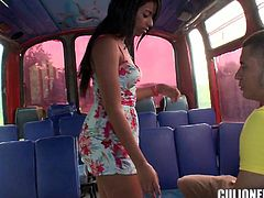 Cute brunette chick Susan is having fun with some dude in a bus. They pet each other and then have oral sex and fuck in cowgirl and other positions.
