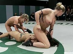 Dia Zerva, DragonLily, Holly Heart and Jessie Cox struggle on tatami and get horny. They rub one another's butts and boobs and seem to enjoy it much.