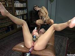 Two awesome girls Aiden Aspen and India Summer are having some lesbian fun indoors. They caress each other passionately and then get their snatches slammed by a fucking machine.