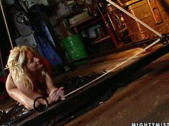 This wicked mistress in high heels know a lot about torture techniques. She binds her slave in rope to ensure she can't escape. Then she drills her slave's snatch with a dildo until she cums.