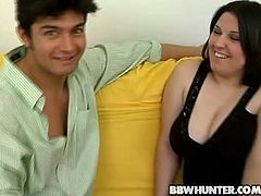 Get a load of this chubby brunette's big natural tits and her fat pussy in this hardcore video where she's fucked by a guy.
