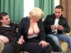 These two dudes strategically get this grandma drunk, so they can take her home and bang her fat cunt. She reacts well when they pull their cocks out and bang her mouth and pussy.