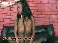 Latrice is a submissive black whore with saggy big tits. She gets her ass hole drilled by two brutal guys.