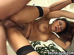 Annie Cruz is petite, sexy, Asian, and has great tits. But, she loves getting fucked anally. She strips in the hot tub and is brought inside to play. He unzips and she deep throats his huge cock and drools all over her tits to show him how much she loves his cock. He spreads her legs wide open and her pussy is fucked hard with her huge tits bouncing in the air. She squirts a ton from all the fucking and wants more. She then takes it in the ass and squirts even more from the hard fucking and is amazing to enjoy. She squirts enough to be a fountain and swallows every drop of cum when he blasts h
