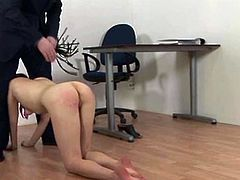 This naughty young brunette schoolgirl gets punished with a spanking by the teacher for being out of uniform and wearing sexy panties under her skirt in this European sex movie.