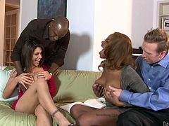 Loving wives don't mind having foursome fuck to spice up sexual life. So they switch their husbands sucking one another's hubby's cock in front of each other. Later they both ride hard sticks vigorously. Steamy interracial swingers fuck scene.