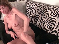 Maria is a very skinny mature slut. She pleasures herself by stroking her clit and massaging her tits.
