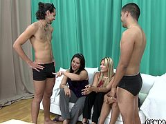 Three lovely girls give a handjob to naked guys. After that they take their pants off and get fucked on the floor.
