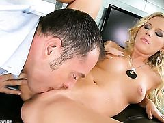 Blonde Barbie White and hot guy fulfill their sexual needs together