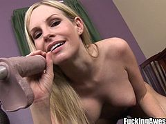 Sweet blonde Aimee sucks her sex toy nice and gently. She takes her time, enjoying that dildo and imagining it's a real cock. After she sucked it enough and made it slippery the blonde bends over and slides it in her beautiful ass. She goes deeper and deeper, enjoying the feeling of a stuffed pussy.
