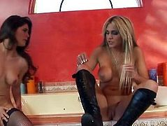 Carmel Moore has sexy lesbian fun with Paola Rey
