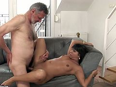 Naughty brunette wench is riding hard stick of old man. Then she is nailed deep in her cunt in a missionary position. Exciting porn clip presented by 21 Sextury.