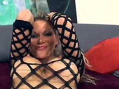 Cute blonde milf Ana Nova wearing fishnets is having fun with some guy indoors. She favours him with a hot blowjob and then they have awesome anal sex in cowgirl and many other positions.