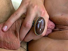 Turned on blonde bimbo Brooke Banner with huge stunning tits and colorful tattoos gives head to dirty neighbor and gets his rock hard cannon deep in wet honey pot.