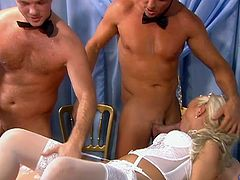Don't know what will happen if her boyfriend finds it out, but seems like by this moment Kathy Anderson, a sexy blond bride, enjoys two dicks in her twat and mouth!