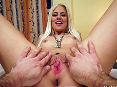 Amazingly hot blonde girl gives nice blowjob and then takes her clothes off. Later on she gets her pussy fingered and fucked.