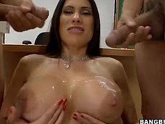 A slutty fucking whore sucks cock gets nailed and then the dude blasts the jizz all across her gorgeous-ass tits, check it out!