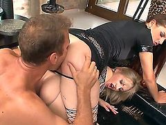 Turned on mature and filthy pornstar Rocco Siffredi with long meaty cannon fucks in tight asses slender cock loving whores Mira A, Sasha Rose and Valentina C in amazing outfits.