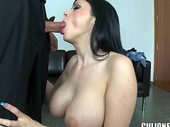 Brunette bombshell Anastasia Brill undresses and demonstrates her enormous tits to some guy. Then she admires him with her cock-sucking abilities and they fuck in the reverse cowgirl and other positions afterwards.