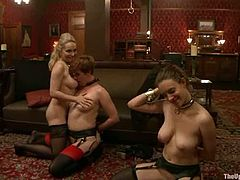 Aiden Starr, Lilla Katt and one more girl lick each other's vags and tits. Then they give a blowjob to some dude and seem to enjoy it much.