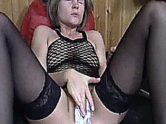 Extreme amateur slut has her huge vagina double fisted and fucked with a toilet brush