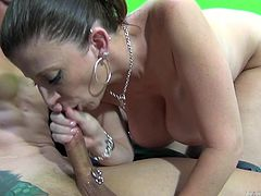 Slutty milf gets truly pleased while having young cock stroking her hard