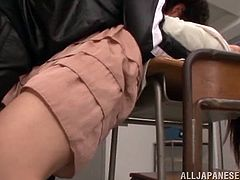 Fuuka Nanasaki is thrown against the desk by one of her students. He pushes her head down and makes her open her mouth. He rips open her blouse to suck on her tits. When she spreads her legs, he sucks on her hairy cunt.