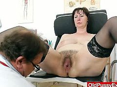 Horny mature slut called Blanka visited the clinic for a gynecological examination. She opens her legs wide and her doctor plays with her hairy muff till an orgasm!