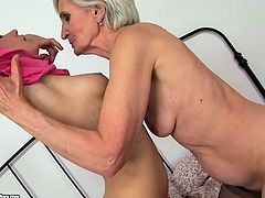 Thse extremely perverted lesbians make each other cum caressing each other's snatches orally. Make your ass comfortable in your seat and enjoy this hot old vs young sex scene.