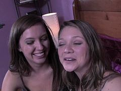 Enjoy this hot video where the lovely brunette teen belles Jessie Andrews and Maddy Oreilly make out and strip. Then they're ready to devour their shaved slits into superb explosions of pleasure.