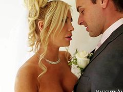 Tasha Reign is a sex obsessed bride with big boobs and tight nicely shaved pussy. She gives titty job and gives head with her snow white dress on. Then she parts her legs and gets her snatch eaten out.