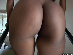 A super horny-ass ebony whore sucks on a hard cock and gets fucking nailed right in her motherfucking gash, check it out right here!