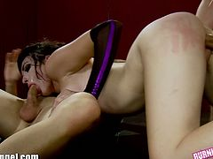 See the slutty Emo brunette Vada getting banged from both ends by two horny studs in this intense threesome video.