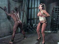 Muscular Black dude gets tied up and toyed deep in the ass by amazing Nika Noire. Then this babe sits on Jack's face and rides his big black cock.