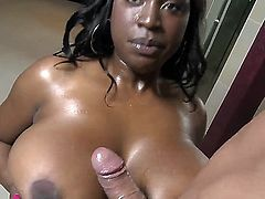 Big beautiful black woman Melissa Reed is going to have wonderful screw with white pal Marco Banderas. She plays with his dick by mouth and juggs before getting nailed.