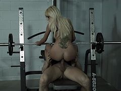 The girls are having a private party, one is on the armchair rubbing her pussy frantically while the two blondes undress and act naughty. While the girls are having fun there's some hard training in the gym. A hunk plays with his sexy blonde, fucks her pussy and then starts training with her on top and underneath