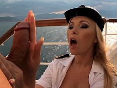 The captain and his first mate, the stunning blonde Donna Belll, are going to celebrate their appointment on the new vessel by having hot hardcore anal sex on the deck.
