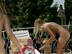 Lascivious brunette fairy Jessica has got a mind taking slender body and cute face. She bends over a deck chair while an insatiable blondie fucks her shaved pussy with baseball batt in lesbian sex video by 21 Sextury.