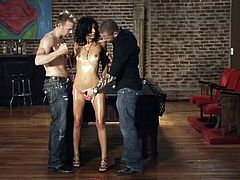 These guys are writing the scenario for a porn and it looks pretty good, check it out! A sensual brunette babe oils herself in front of the guys, that are playing a game of snooker. She turns them on and receives their attention. The brunette then kneels, to suck both cocks and ends up, fucked from both ends.