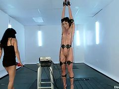 Playing with electricity and pussy can be a very fun thing to do as Love and Wenona found out. One is tied by her hands and almost hanged, she has electrodes on her belly, thighs and arms and the other plays with her pussy using nothing more but her fingers and a vibrator. Let't keep these sluts some company