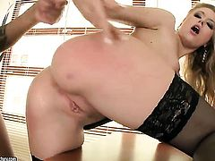 Blonde Michelle Moist enjoys cunt stretching wild interracial porn action
