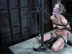 Hot chick with a hook in her ass gets bounded and then toyed deep in her tight pussy. After that she gets her tits tortured with claws.