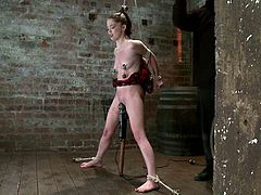 Adorable babe gets undressed and tied up by her master. Later on she gets her nipples tortured and pussy toyed.