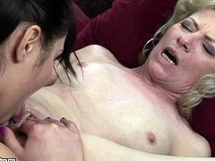 Two lustful lesbians go wild in hot and exciting 21 Sextury porn tube video. One brunette sweetie licks pussy of mature harlot and finger fucks her slit.
