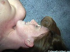 Two slender students go insane during a wild college party. They lie on the floor fully naked before proceeding to tongue fucking each other's bald cunts in pose 69 surrounded by kinky dudes in gangbang sex orgy by Pornstar.