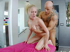 Gorgeous and sizzling honey Elaina Raye is so fucking amazing! She goes on that thick cock and after having sucked it deep, she gets balled and jizzed on her face.