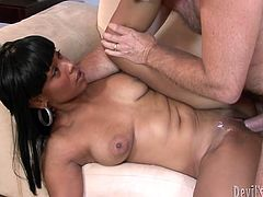 She likes the shape of his cock and demonstrates him deepthroat talent. Later she sits on his dick and moves her ass fast in cowgirl position.