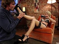 She loves, when he sucks her sensual toes and then she rubs that huge cock in a nice footjob! After all these perversions, babe sits on his huge dagger.